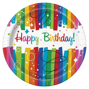 "8 CT 9"" Ranbow Ribbon Birthday Plates"