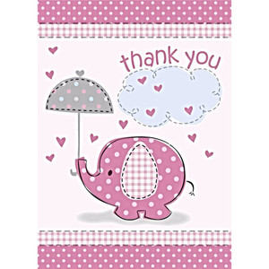 8 CT Umbrellaphants Pink Thank You Notes