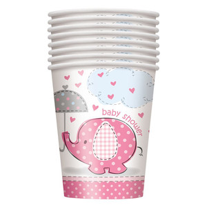 8 CT 9 Oz Umbrellaphants Pink Cups