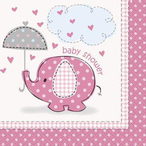 16 CT Umbrellaphants Pink Beverage Napkins