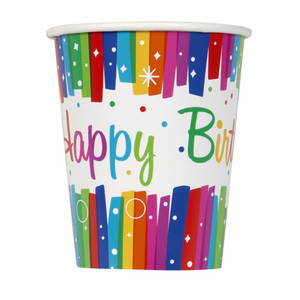8 CT 9 Oz Rainbow Ribbon Birthday Cups