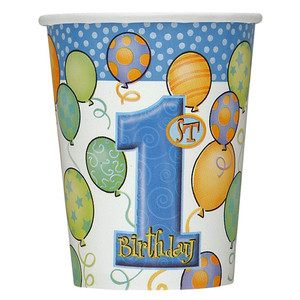 8 CT 9 Oz First Birthday Blue Cups