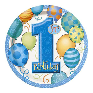 "8 CT 9"" First Birthday Blue Plates"