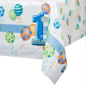 First Birthday Blue Plastic Tablecover