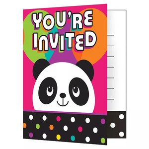 8 CT Birthday Panda Invitations