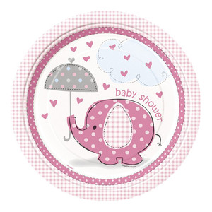 "8 CT 9"" Umbrellaphants Pink Plates"