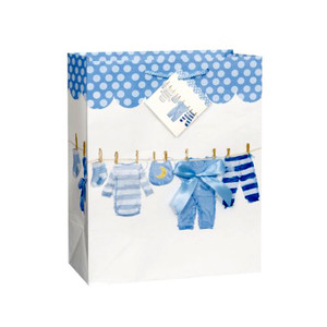 Blue Baby Bow Clothsline Bag - Large