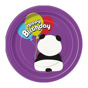 "8 CT 7"" Birthday Panda Plates"