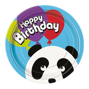 "8 CT 9"" Birthday Panda Plates"
