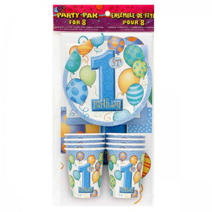 8 CT First Birthday Blue Party Pack