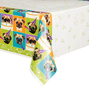 "54"" x 84"" Pug Puppy Birthday Tablecover"