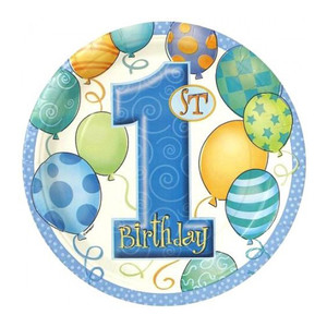 "8 CT 7"" First Birthday Blue Plates"
