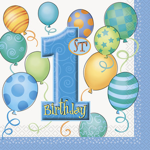 16 CT First Birthday Blue Lunch Napkins