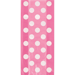 20 CT Hot Pink Dots Cello Bags