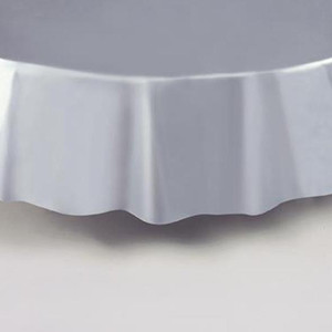 "Silver Round Tablecover 84"" Diameter"