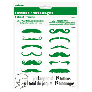 12 CT Green Mustache Finger Tattoos
