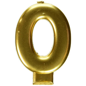 Metallic Candle Numeral #0 Gold