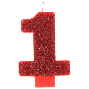 Candle Numeral Glitter #1 Red