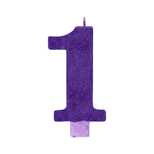 Candle Numeral Glitter #1 Purple Large