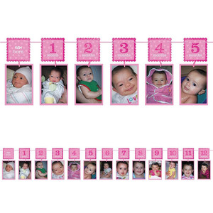 1st Birthday Girl Glitter Photo Garland