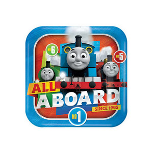 "9"" Plate Square Thomas All Aboard"
