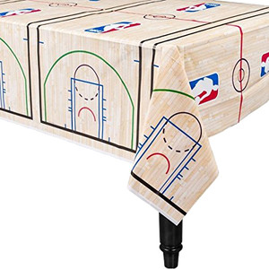 "54"" x 96"" Table Cover Plastic Spalding Basketball"
