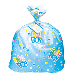 Blue Dots Baby Shower Jumbo Plastic Gift Bag
