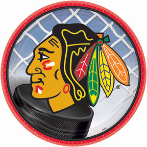 "7"" Round Chicago Blackhawks Plate"