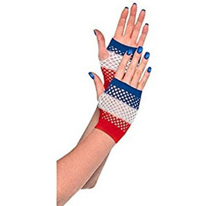 Fingerless Fishnet Gloves Red White and Blue