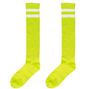 Neon Striped Knee Socks