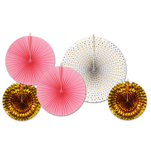 Assorted Gold & Pink Paper & Foil Decorative Fans
