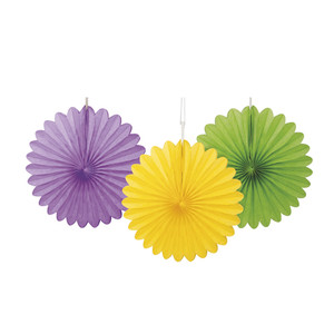 "3 Ct 6"" Decorative Mini Fans - Purple, Yellow, and Lime Green"
