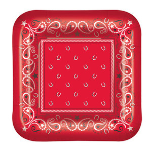 Red Bandana Dinner Plates 8 Count