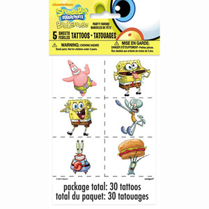 5 CT Spongebob Tattoo Sheets