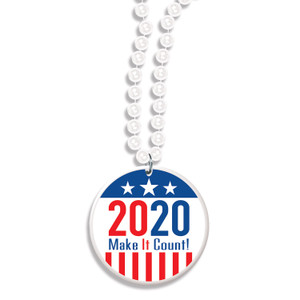 Beaded Necklace with 2020 Make It Count! Medallion