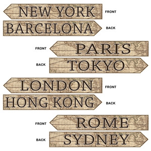 Around The World Street Sign Cutouts