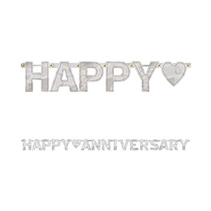 Happy Anniversary Silver Large Letter Banner