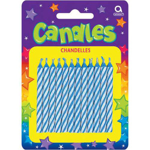 Blue Candy Stripe Birthday Candles
