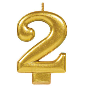 Numeral #2 Metallic Gold Candle