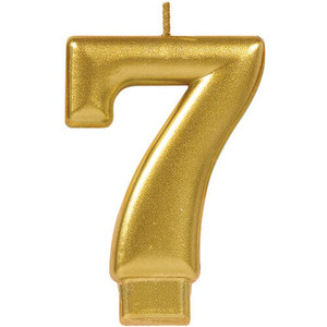 Numeral #7 Metallic Gold Candle