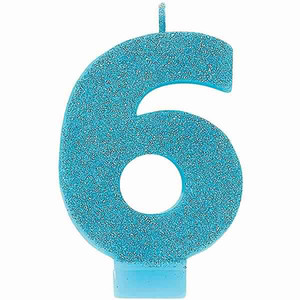 Numeral #6 Glitter Caribbean Blue Candle