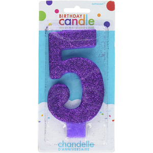 Numeral #5 Large Glitter Purple Candle