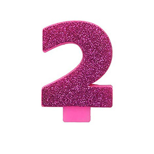 Numeral #2 Glitter Pink Candle