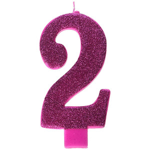 Numeral #2 Large Glitter Pink Candle