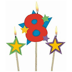 Numeral #8 Star Birthday Pick Candle