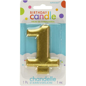Numeral #1 Metallic Gold Candle