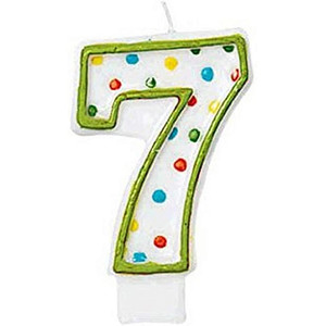 Numeral #7 Polka Dots Birthday Candle
