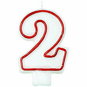 Numeral #2 Red/White Birthday Candle