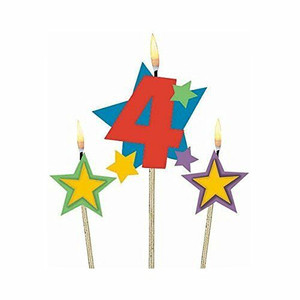 Numeral #4 Star Birthday Pick Candle