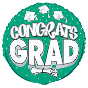 Congrats Graduation Green Metallic Balloon